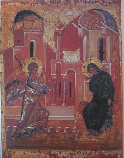 Благовещение. Темпера. XIV век. Государственная Третьяковская галерея